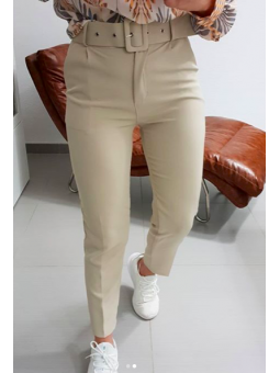 Pantalon beige cinturón (9131)