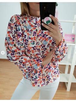 Camisa flores multicolor...