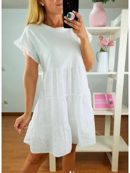 Vestido blanca franjas...