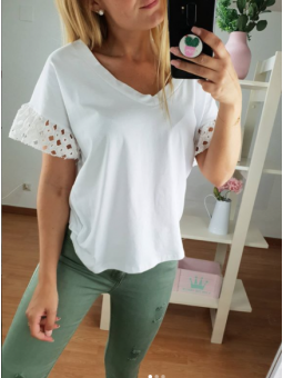 Camiseta blanca Cori manga...