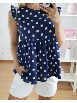 Blusa lunares azul marino...