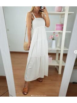 Vestido Blanco Abril panal...