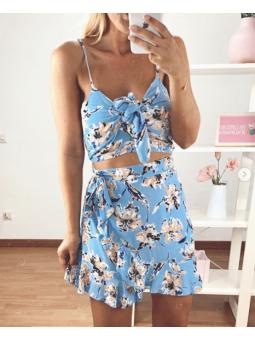 Falda Azul claro cruzada...