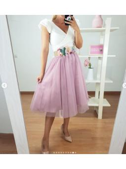 Falda tul midi Rosa