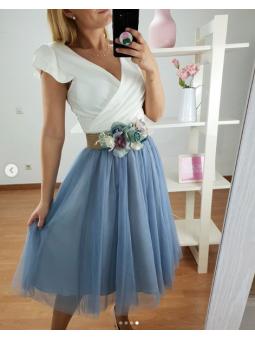 Falda tul midi Azul vaquero