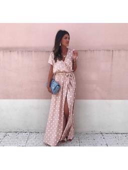 Vestido lunares rosa cruzado