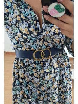 Cinturón azul Círculos dorados