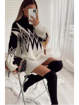 Vestido cenefa negro/blanco