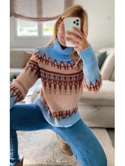 Suéter Abril Cenefa azul...