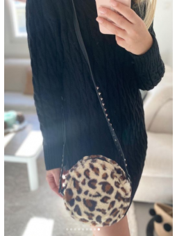 Bolso redondo  leopard