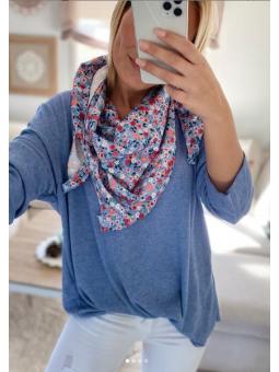 Suéter Azul punto fino +...