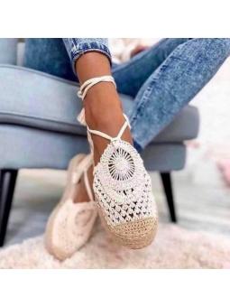 Sandalia beige crochet...