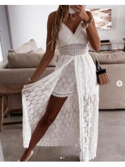 Vestido blanco calado largo...