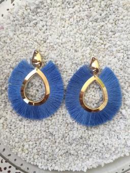 Pendientes ovalados flecos Azul