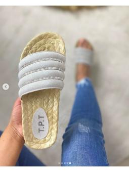 Sandalia gris strass...
