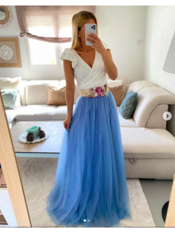 Falda tul Larga azul claro
