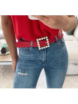 Cinturón Rojo Perlas cuadrado