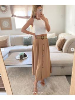 Falda camel botones + cinturón