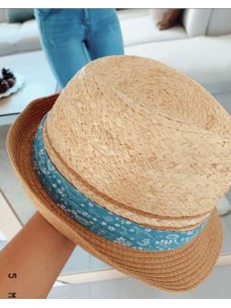 Sombrero ribete azul...