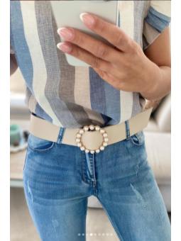 Cinturón Beige  Perlas...