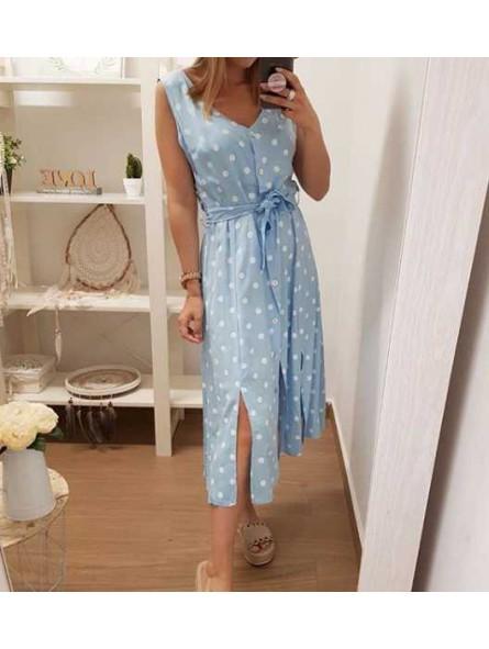 Vestido midi lunares azul claro