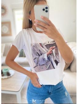 Camiseta Blanca chica bolso...
