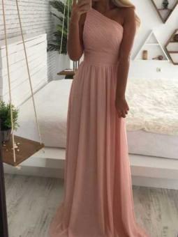 Vestido rosa asimétrico fiesta // Cinturón flores