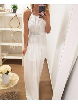 Vestido blanco detalles cuello