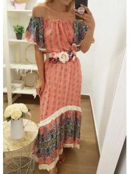 Vestido étnico salmón / Cinturón flores
