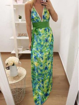 Vestido acuarelas verde y azul