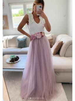 Falda tul Larga rosa