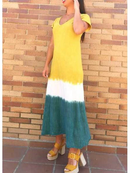 Vestido degradado tonos mostaza y kaki