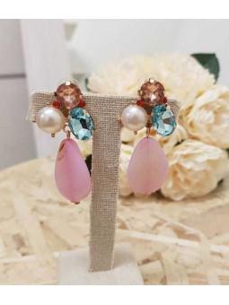 Pendientes piedras multicolor central rosa