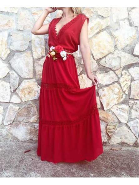 Vestido rojo Calpe // Cinturón cuerda flores rojo
