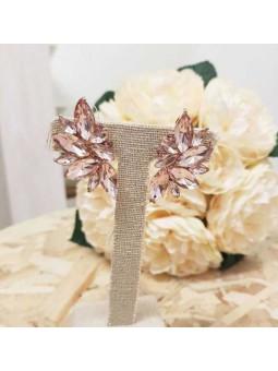 Pendientes cristales rosas