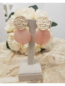 Pendientes chapa dorada color rosa