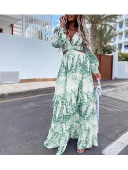 Vestido largo Palm aguamarina