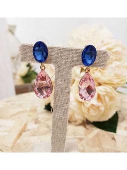 Pendientes crital rosa y azul klein