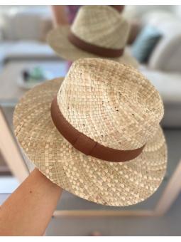 Sombrero rafia ribete marrón