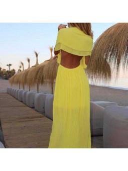 Vestido plisado amarillo