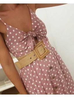 Vestido rosa lunares midi lazada // Cinturón beige trenzado