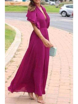 Vestido plisado buganvilla