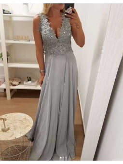 Vestido fiesta gris parte superior encaje