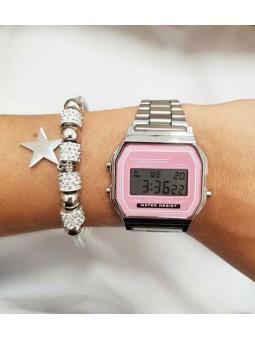 Reloj digital rosa y pulsra plaetada