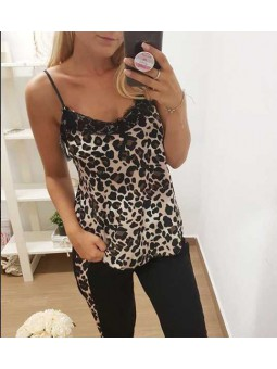 Lencera animal print puntilla leopardo