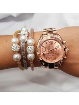 Reloj oro rosa números romanos  pulsera triple perlas tres oros