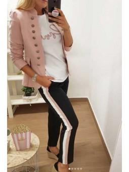 Pantalones negros franja blanca y rosa