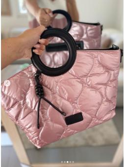 Bolso Acolchado Rosa /negro