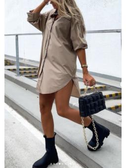 Vestido/camisa  Beige lisa