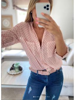 Camisa Rosa estampado mosaico